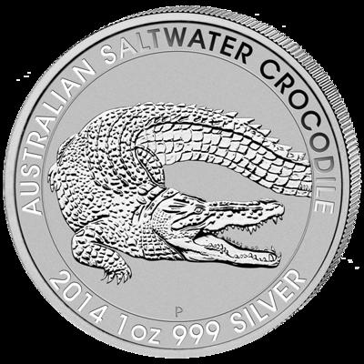 Stříbrná mince 1 Oz Australian Saltwater Crocodile (Krokodýl mořský) 2014