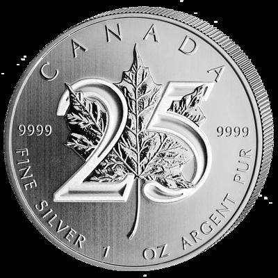 Stříbrná mince 1 Oz  Maple Leaf 2013 25th Anniversary (25. výročí 1988-2013)