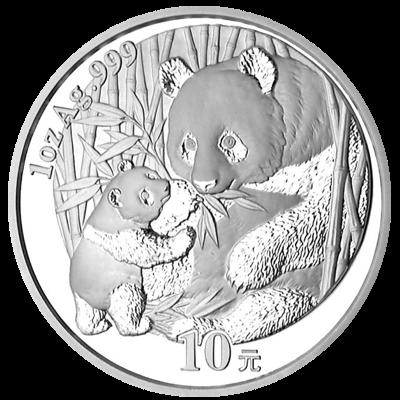 Stříbrná mince 10 Yuan China Panda 1 Oz 2005