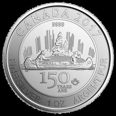 Stříbrná mince 1 Oz Voyageur (150 let Kanady) 2017