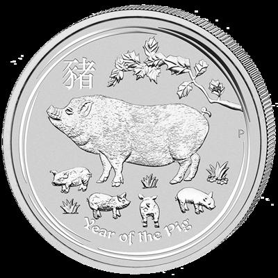Lunární série II. - stříbrná mince 2 AUD Year of the Pig (Rok vepře) 2 Oz 2019