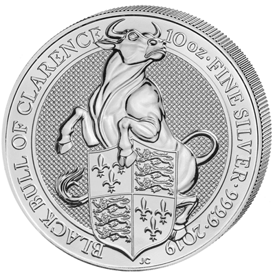 Stříbrná mince 10 Oz The Black Bull of Clarence 2019 (The Queen's Beasts)