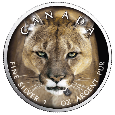 Stříbrná mince Maple Leaf - Cougar (Puma) 1 Oz 2019 (Canada Wildlife) - (6.)