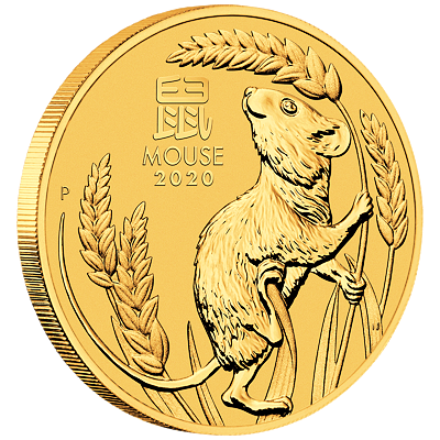 Lunární série III. - zlatá mince Year of the Mouse (Rok krysy) 1/4 Oz 2020
