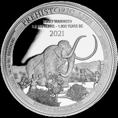 Stříbrná mince Wooly Mammoth (Mamut srstnatý) 1 Oz 2021 - (4.)