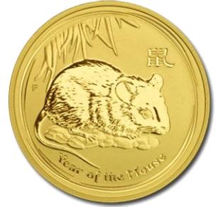 Lunární série II. - zlatá mince 25 AUD Year of the Mouse (Rok krysy) 1/4 Oz 2008 - RARITA !!!