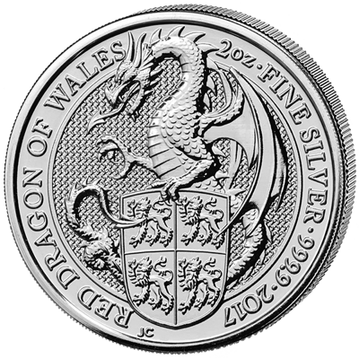 Stříbrná mince 2 Oz The Red Dragon of Wales 2017 (The Queen's Beasts)