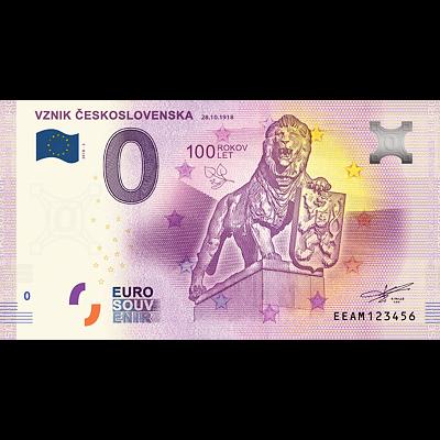 Bankovka 0 EUR Vznik Československa (100.výročí) 2018