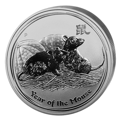 Lunární série II. - stříbrná mince 2 AUD Year of the Mouse (Rok krysy) 2 Oz 2008 - RARITA !!!