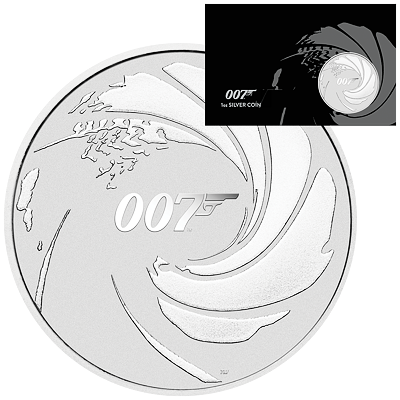 Stříbrná mince James Bond 1 Oz 2020 karta