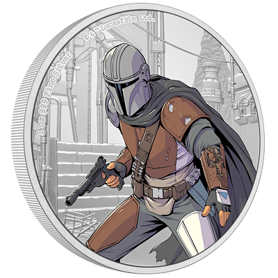 Stříbrná  mince The Mandalorian™ 1 Oz 2021 (Star Wars™) Color PROOF - (1.)