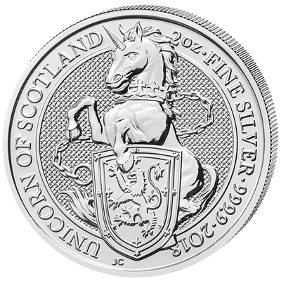 Stříbrná mince 2 Oz The Unicorn of Scotland 2018 (The Queen's Beasts)