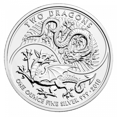 Stříbrná mince 1 Oz Two Dragons (Dva draci) 2018