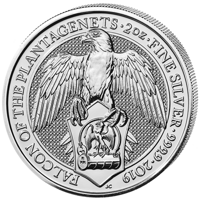 Stříbrná mince 2 Oz  The Falcon of The Plantagenets 2019 (The Queen's Beasts)