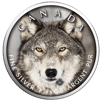 Stříbrná mince Maple Leaf - Wolf (Vlk) 1 Oz 2019 (Canada Wildlife) - (5.)
