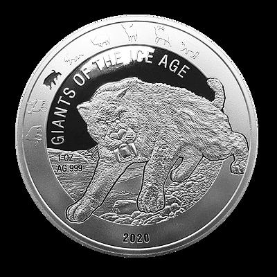 Stříbrná mince 1 Oz Tygr šavlozubý 2020 (Doba ledová) - (3.)