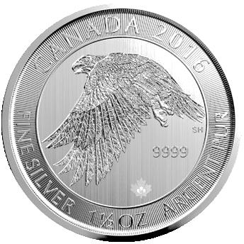Stříbrná mince 1,5 Oz Snow Falcon - Gyrfalcon (Raroh lovecký) 2016 (Canadian Polar)