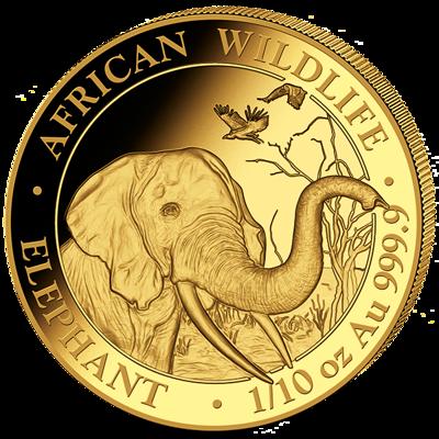 Investiční zlato - zlatá mince 100 Schillings Elephant (Slon africký) 1/10 Oz 2018 (African Wildlife Series)