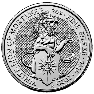 Stříbrná mince 2 Oz The White Lion of Mortimer 2020 (The Queen's Beasts)