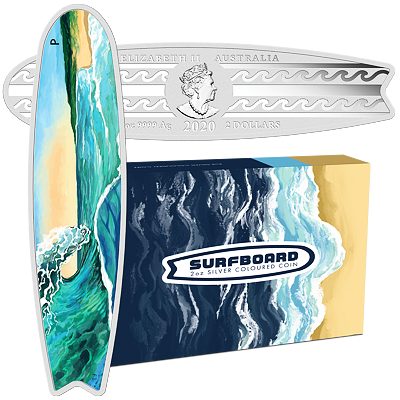 Stříbrná mince 2 Oz Surfboard 2020 Color