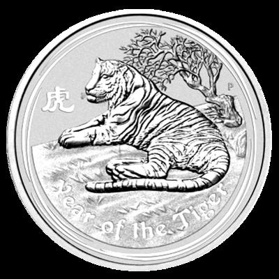 Lunární série II. - stříbrná mince 8 AUD Year of the Tiger (Rok tygra) 5 Oz 2010