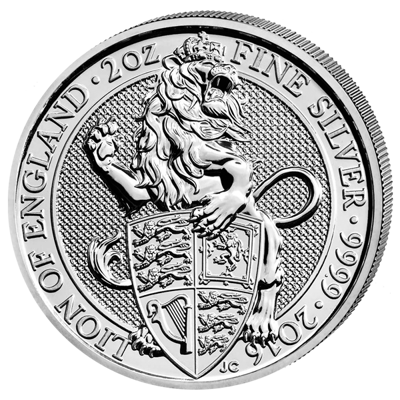 Stříbrná mince 2 Oz The Queen's Beasts The Lion of England 2016