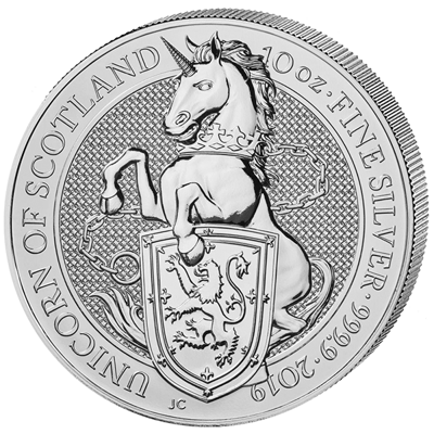 Investiční stříbro - stříbrná mince 10 Pounds The Queen's Beasts The Unicorn 10 Oz 2019