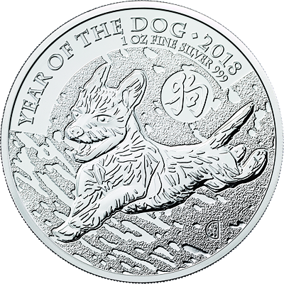 Lunární série -  stříbrná mince 2 Pounds Year of the Dog (Rok psa) 1 Oz 2018 (Royal Mint)