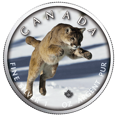 Stříbrná mince Maple Leaf - Cougar (Puma) 1 Oz 2019 (On the Trails of Wildlife) - (6.)