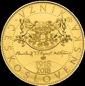 Zlatá mince 10000 Kč Vznik Československa (100.výročí) 1 Oz 2018 běžná kvalita