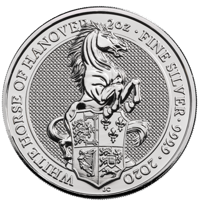 Stříbrná mince 2 Oz The White Horse of Hannover 2020 (The Queen's Beasts)