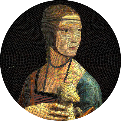 Exkluzivní stříbrná mince Lady with an Ermine (Dáma s hranostajem - Vinci) Great Micromosaic Passion 3 Oz 2020 PROOF - (4.)
