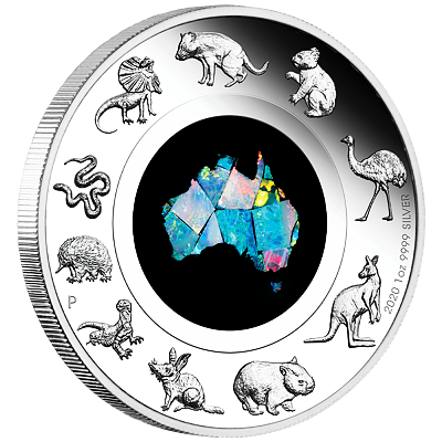 Stříbrná mince 1 Oz Great Southern Land 2020 Opal PROOF