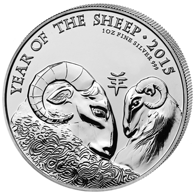 Lunární série - stříbrná mince 1 Oz Year of the Sheep (Rok ovce) 2015 (Royal Mint)