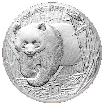 Stříbrná mince 10 Yuan China Panda 1 Oz 2001
