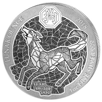 Stříbrná mince Rwanda Lunar Year of the Dog (Rok psa) 1 Oz 2018