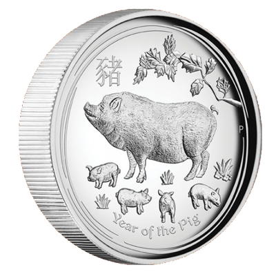 Stříbrná mince Year of the Pig (Rok vepře) 1 Oz 2019 High Relief PROOF