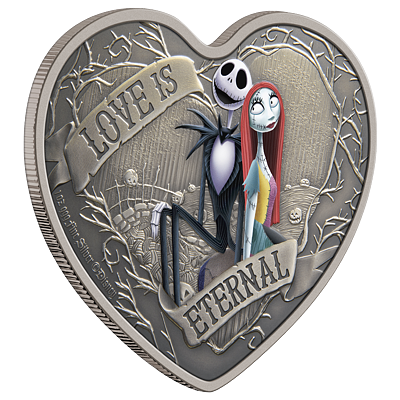Stříbrná mince Love Is Eternal 1 Oz 2021 (The Nightmare Before Christmas™) Color Antique - (1.)