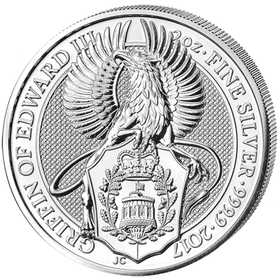 Investiční stříbro - stříbrná mince 5 Pounds The Queen's Beasts The Griffin of Edward III. 2 Oz 2017