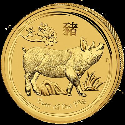 Lunární série II. - zlatá mince 100 AUD Year of the Pig (Rok vepře) 1 Oz 2019