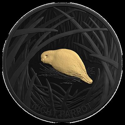 Stříbrná mince Night Parrot 1 Oz 2019 BLACK NICKEL PROOF Gilded - (3.)