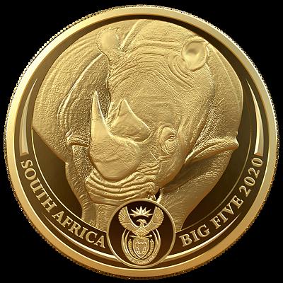 Exkluzivní zlatá mince Big Five - Rhino (Nosorožec) 1 Oz 2020 PROOF - (3.)