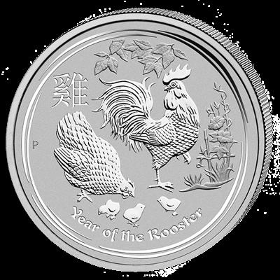 Lunární série II. - stříbrná mince 10 AUD Year of the Rooster (Rok kohouta) 10 Oz 2017