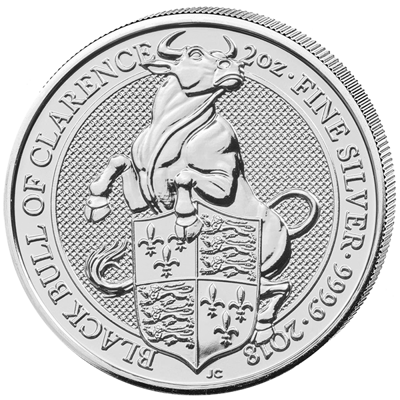 Stříbrná mince 2 Oz The Black Bull of Clarence 2018 (The Queen's Beasts)