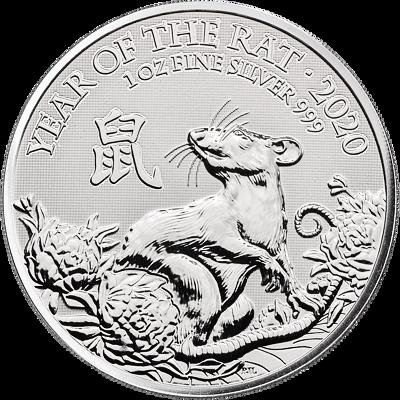 Lunární série -  stříbrná mince 2 Pounds Year of the Rat (Rok krysy) 1 Oz 2020 (Royal Mint)