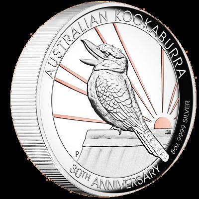 Exkluzivní stříbrná mince 5 Oz Australian Kookaburra (Ledňáček) 2020 30.výročí (1990-2020) High Relief Rose Gold Plating PROOF