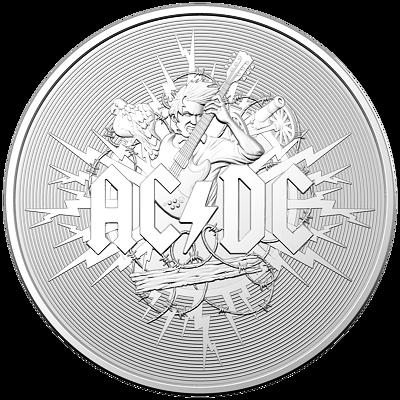 Stříbrná mince AC/DC Frosted 1 Oz 2021