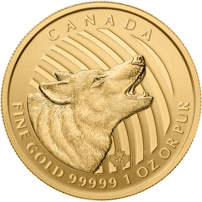 Zlatá mince 200 CAD Howling Wolf (Vyjící vlk) 1 Oz 2014 (.99999)
