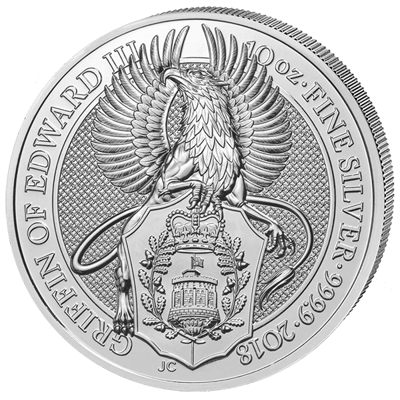 Stříbrná mince 10 Oz  The Griffin of Edward III. 2018 (The Queen's Beasts)