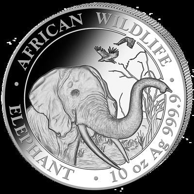 Stříbrná mince 1000 Schillings Elephant (Slon africký) 10 Oz 2018 (African Wildlife Series)